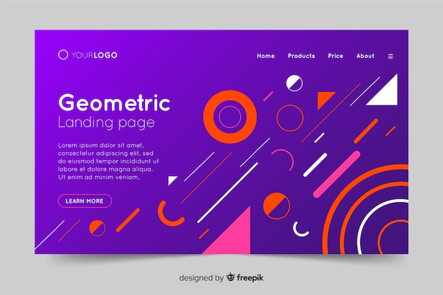 Colorful gradient geometric shapes landing page