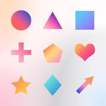 Colorful gradient geometric shapes set