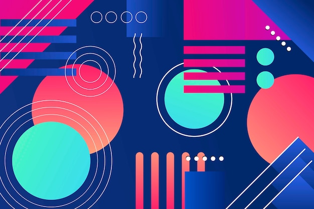 Colorful gradient geometric shapes wallpaper