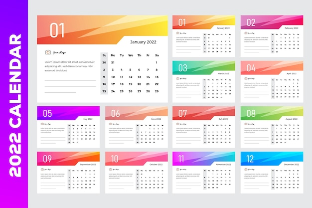 カラフルなグラデーションガラスシャイニングエフェクト2022卓上カレンダー
