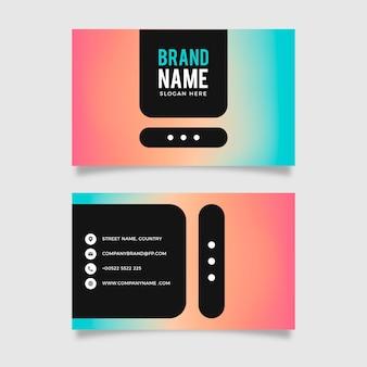 Modello di biglietto da visita orizzontale gradiente colorato