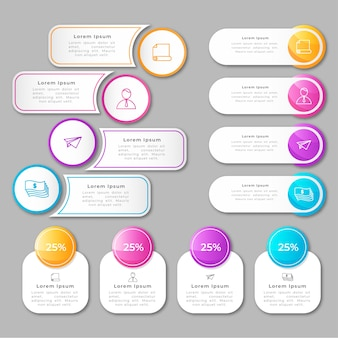 Colorful gradient infographic elements