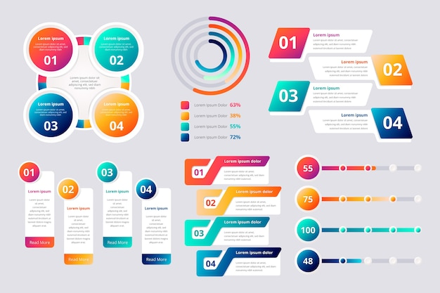 Colorful gradient infographic elements