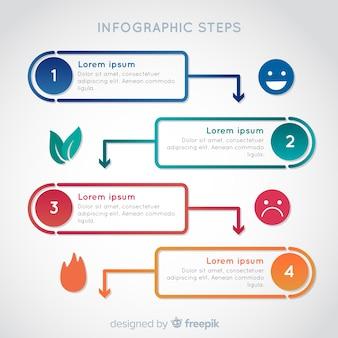 화려한 그라데이션 infographic 단계 개념