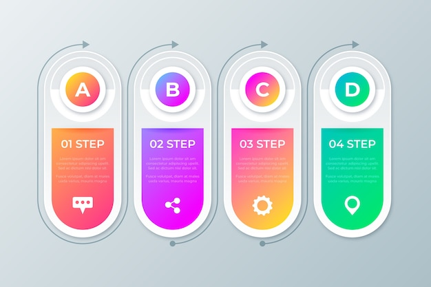 Colorful gradient infographic steps