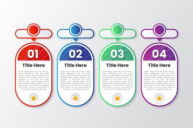 다채로운 그라데이션 infographic 템플릿 벡터
