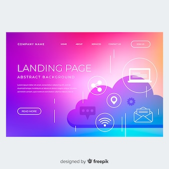 Colorful gradient landing page with cloud