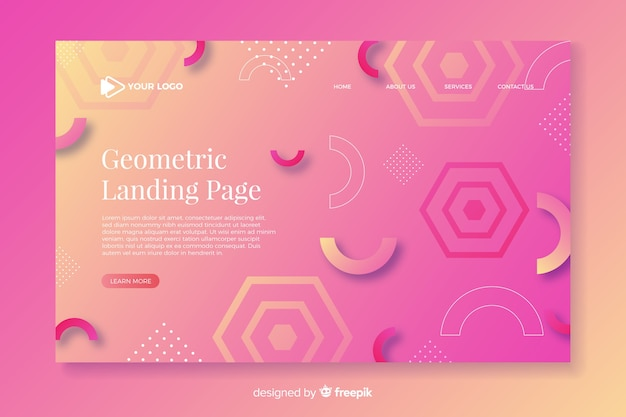 Colorful gradient landing page with geometric aspects