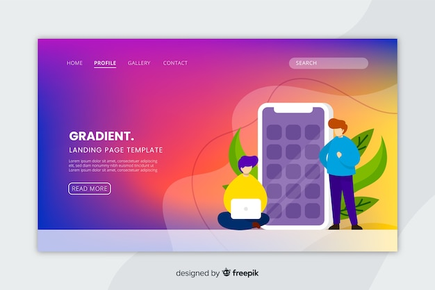 Colorful gradient landing page with illustrations template