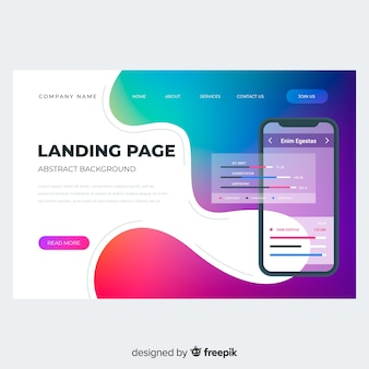 Colorful gradient landing page with phone