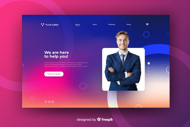Colorful gradient landing page with photo