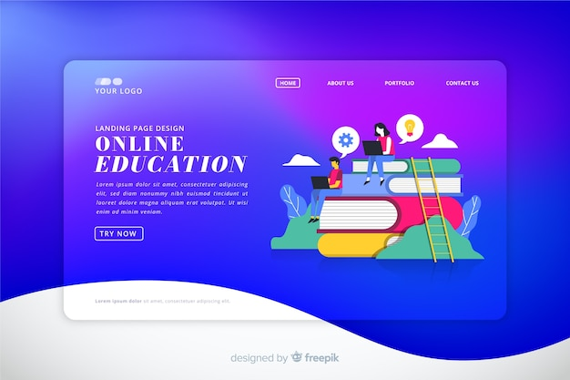 Colorful gradient landing page