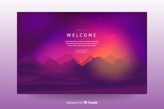 Colorful gradient landscape background for landing page