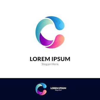 Colorful gradient letter c logo