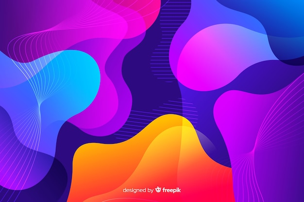 Colorful gradient liquid shapes background