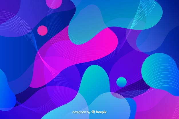 Colorful gradient liquid shapes mixing