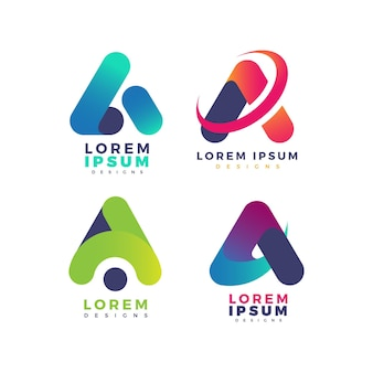 Colorful gradient a logo collection