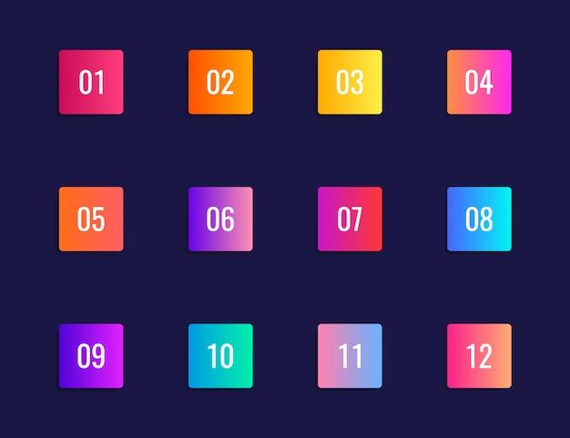 1から12までの数字のカラフルなグラデーションマーカー。
