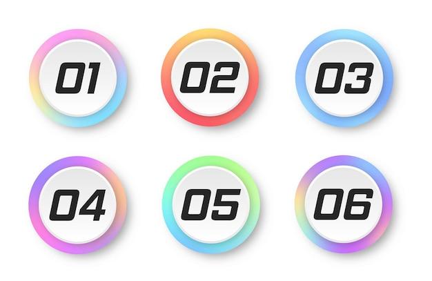 1에서 6까지의 숫자가 있는 다채로운 그라데이션 마커 다채로운 마커 현대 플래그 포인트