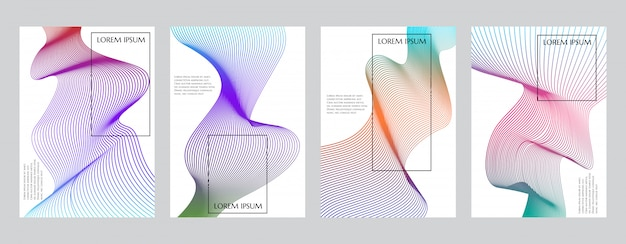 Colorful gradient minimal geometric line pattern  cover template