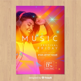 Colorful gradient music festival poster with image