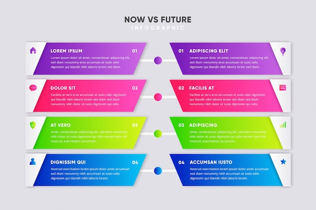 Красочный градиент сейчас против инфографики будущего