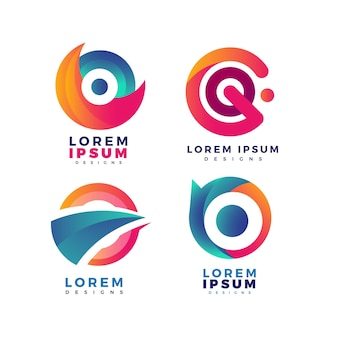 Colorful gradient o logo collection