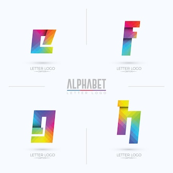 Colorful gradient pixelated origami style efgh letter logo