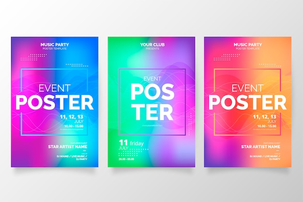 Raccolta di poster colorati sfumati per eventi