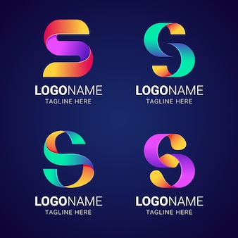 Colorful gradient s logo collection