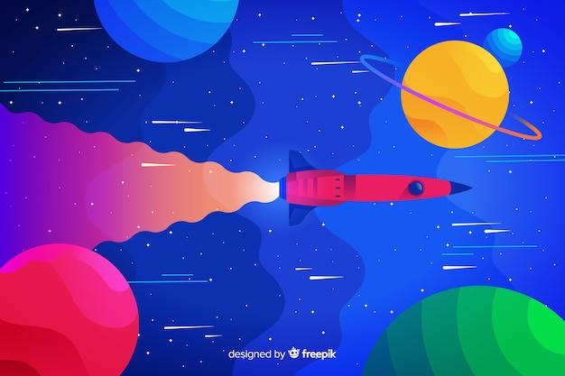 ロケットの背景を持つカラフルなグラデーション空間
