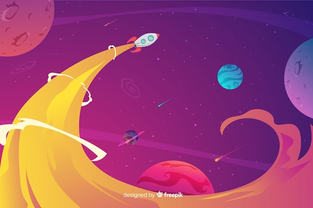 Colorful gradient space with a rocket background