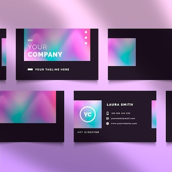 Colorful gradient style business card template