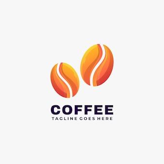 다채로운 그라데이션 스타일 커피 현대 로고 디자인 벡터 일러스트 레이 션