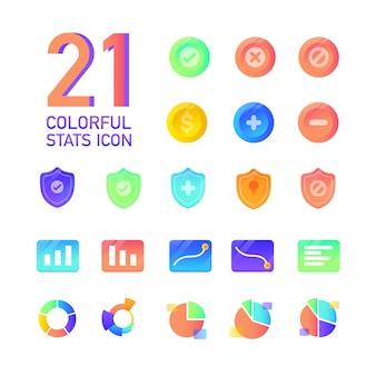 Colorful gradient tech sales chart statistics vector design icon