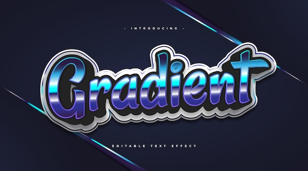 Colorful gradient text with retro style and shiny effect. editable text style effect