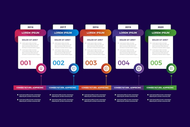 Colorful gradient timeline infographic