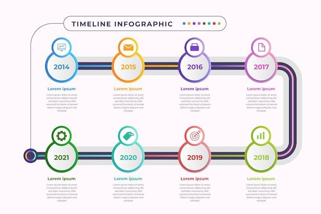 화려한 그라데이션 타임 라인 infographic