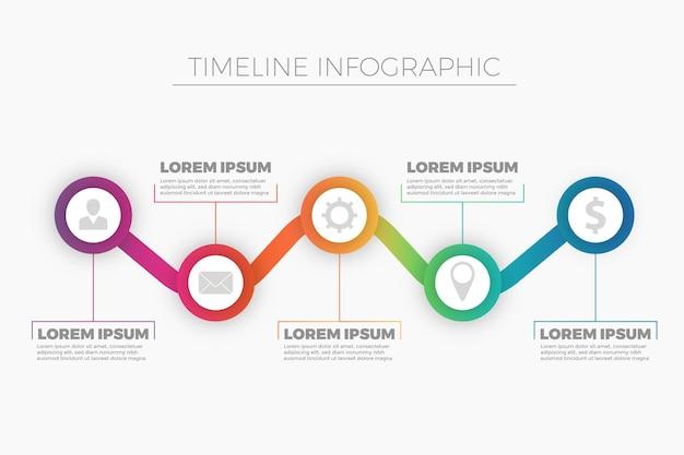 カラフルなグラデーションのタイムラインのインフォグラフィック