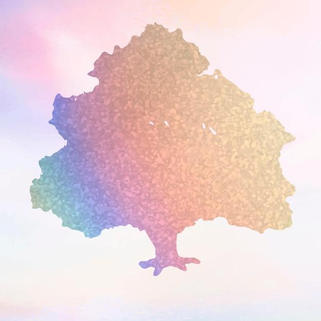 다채로운 그라데이션 트리 요소 벡터