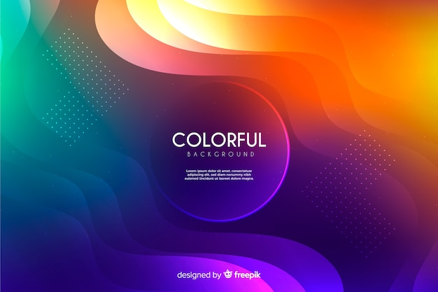 Colorful gradient wavy shapes background