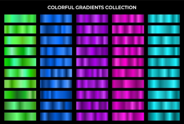 Colorful gradients collection.texture gradation set.