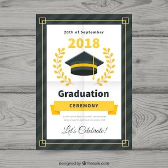 평면 디자인으로 다채로운 졸업 초대장 서식 파일