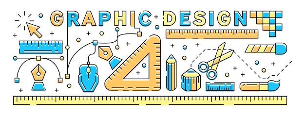 Colorful graphic design concept. flat line design illustration.