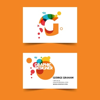 Colorful graphic designer business card template