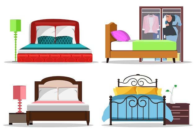 枕と毛布が付いているベッドのカラフルなグラフィックセット。モダンなベッドルームの家具。フラットスタイルのベクトル図です。
