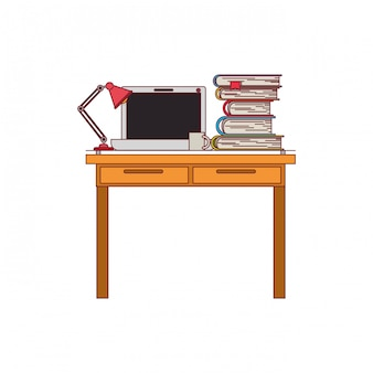 Colorful graphic of work place office interior with laptop computer and lamp and stack books with dark red line contour