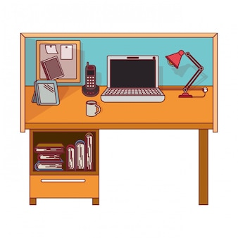Colorful graphic of workplace home office interior with dark red line contour