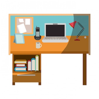 Colorful graphic of workplace home office interior without contour and half shadow