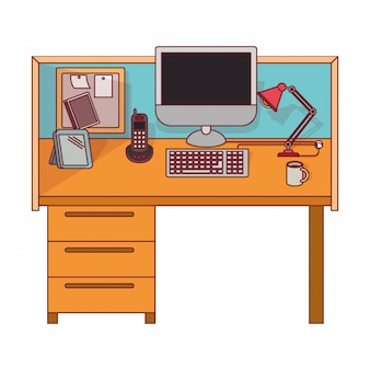Colorful graphic of workplace office interior with dark red line contour